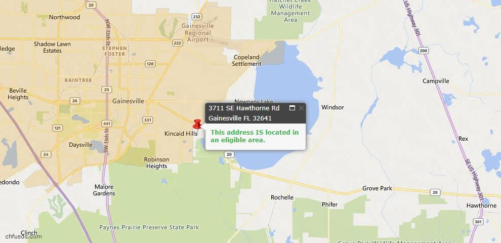 USDA Loan Eligiblity Map - 3711 SE Hawthorne Rd, Gainesville, FL 32641