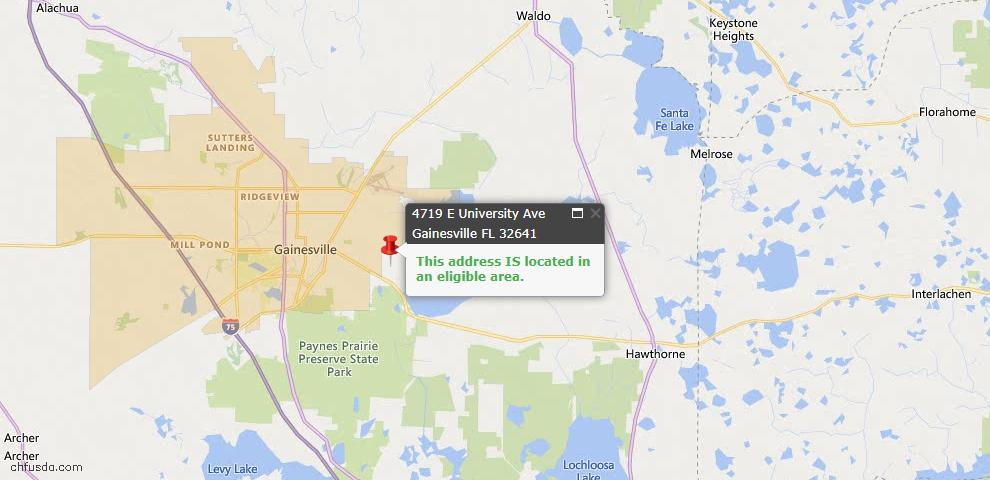 USDA Loan Eligiblity Map - 4719 E UNIVERSITY Ave, Gainesville, FL 32641
