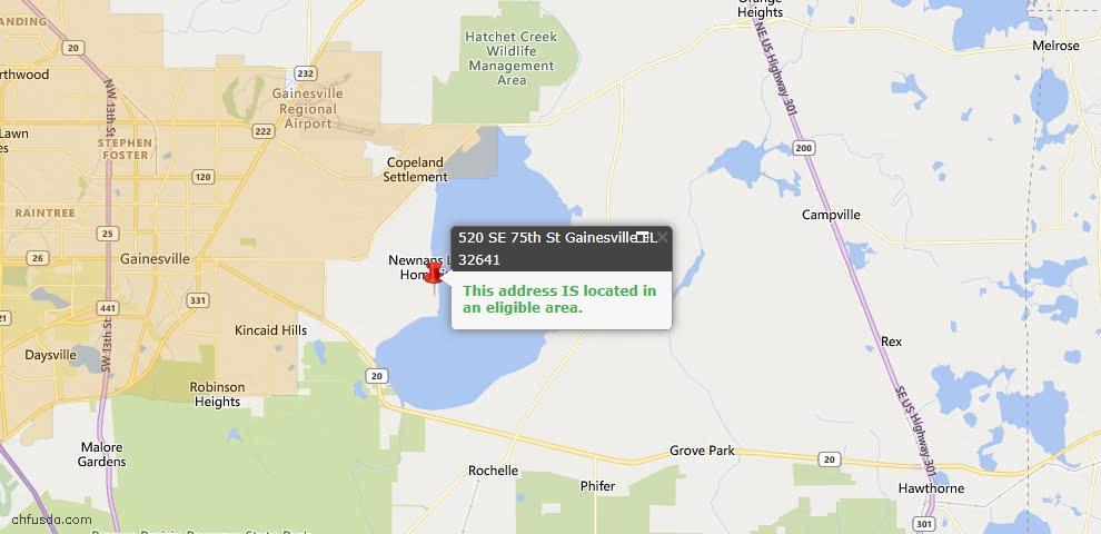 USDA Loan Eligiblity Map - 520 SE 75 St, Gainesville, FL 32641