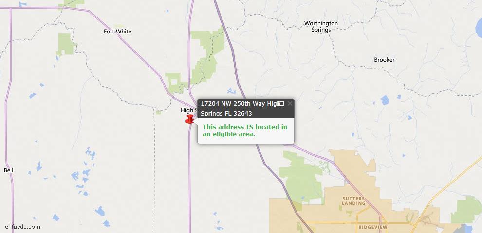 USDA Loan Eligiblity Map - 17204 NW 250th Way, High Springs, FL 32643