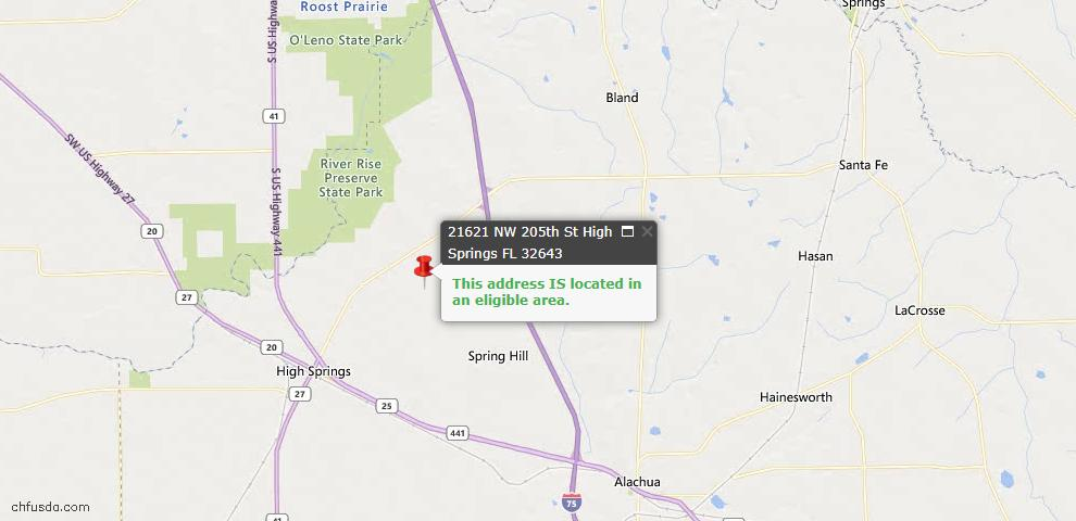 USDA Loan Eligiblity Map - 21621 NW 205th St, High Springs, FL 32643