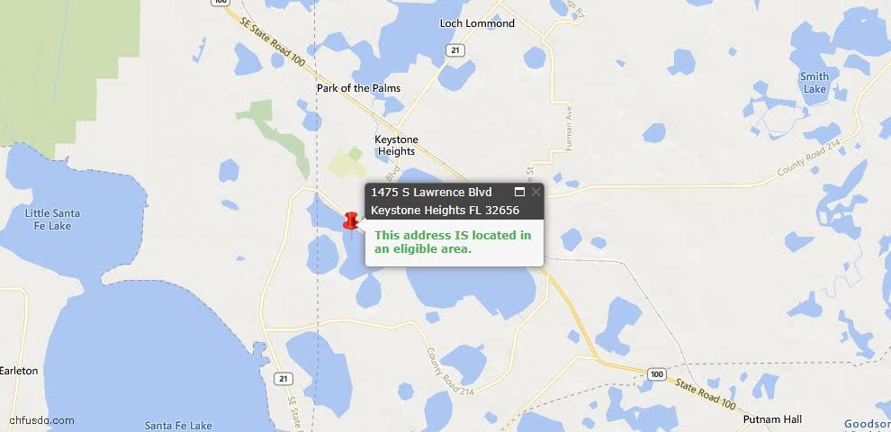USDA Loan Eligiblity Maps From - Keystone Heights, FL