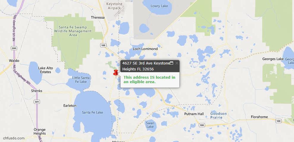 USDA Loan Eligiblity Map - 4627 SE 3rd Ave, Keystone Heights, FL 32656