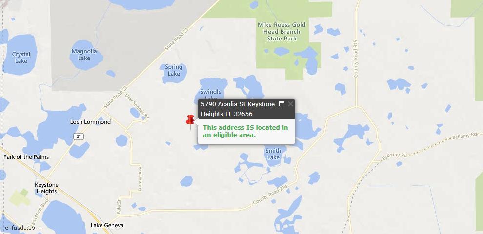 USDA Loan Eligiblity Map - 5790 Acadia St, Keystone Heights, FL 32656