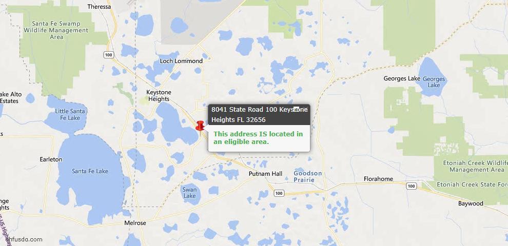 USDA Loan Eligiblity Map - 8041 State Road 100, Keystone Heights, FL 32656