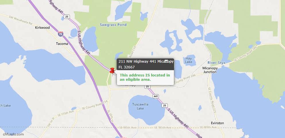 USDA Loan Eligiblity Maps From - Micanopy, FL