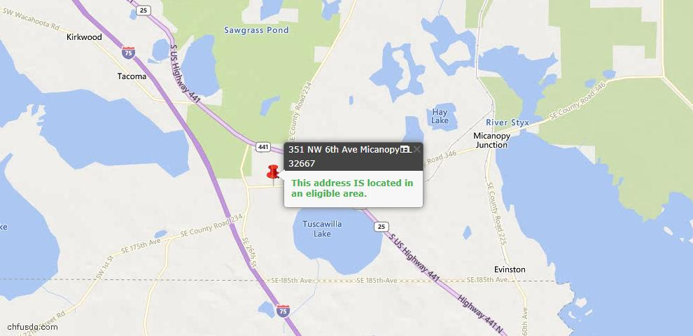 USDA Loan Eligiblity Map - 351 NW 6th Ave, Micanopy, FL 32667