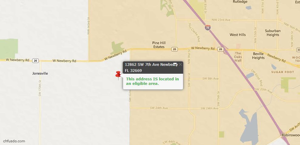 USDA Loan Eligiblity Map - 12862 SW 7th Ave, Newberry, FL 32669