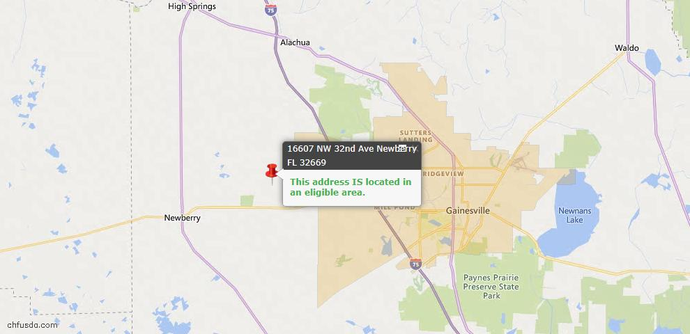 USDA Loan Eligiblity Map - 16607 NW 32nd Ave Unit C, Newberry, FL 32669