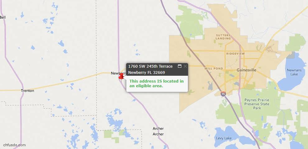 USDA Loan Eligiblity Map - 1760 SW 245th Ter, Newberry, FL 32669