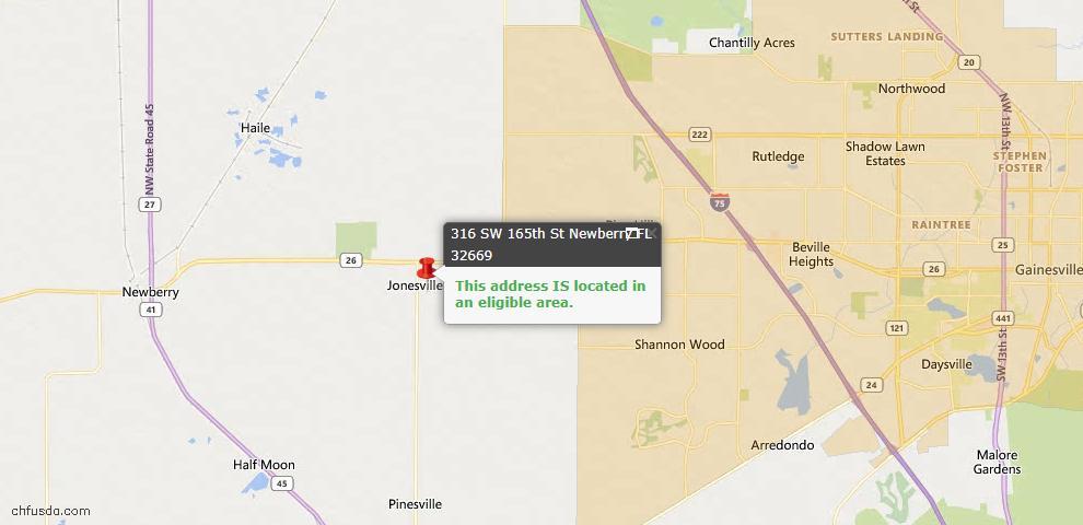 USDA Loan Eligiblity Map - 316 SW 165TH St, Newberry, FL 32669