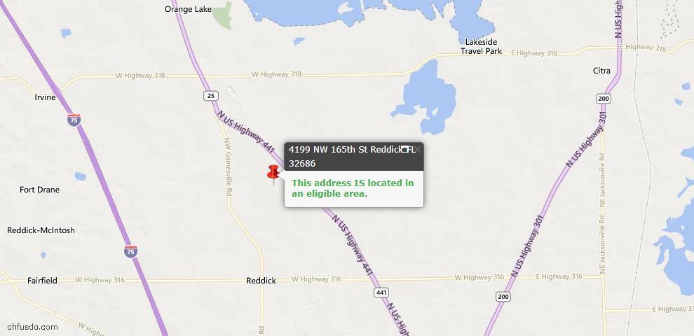 USDA Loan Eligiblity Maps From - Reddick, FL