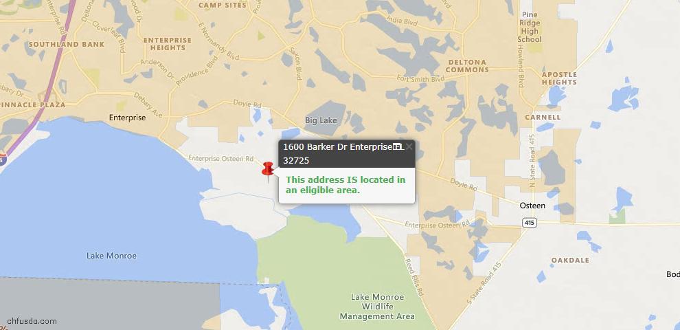 USDA Loan Eligiblity Maps From - Enterprise, FL