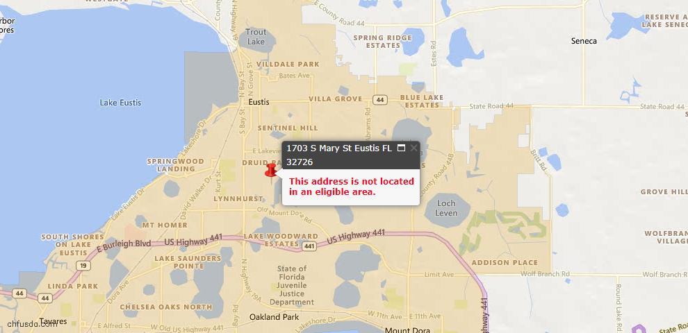 USDA Loan Eligiblity Maps From - Eustis, FL