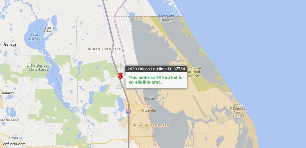USDA Loan Eligiblity Map - 2630 Falcon Ln, Mims, FL 32754