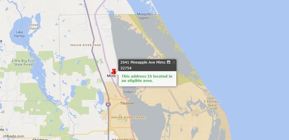 USDA Loan Eligiblity Map - 2641 Pineapple Ave, Mims, FL 32754
