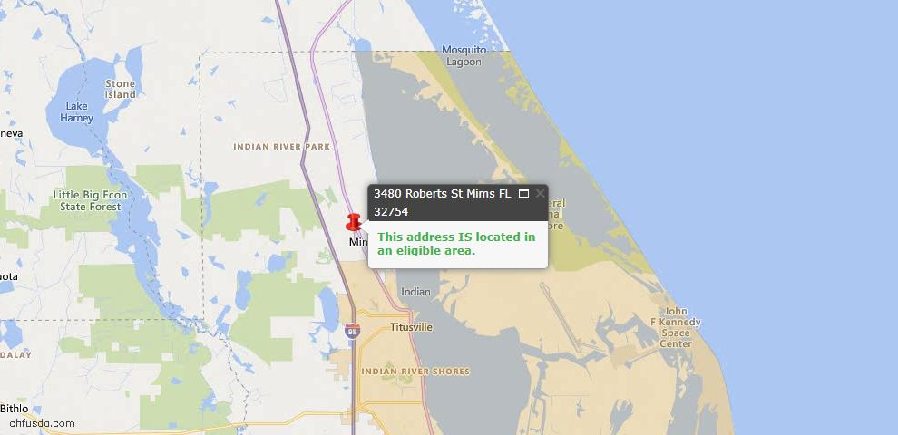 USDA Loan Eligiblity Map - 3480 Roberts St, Mims, FL 32754