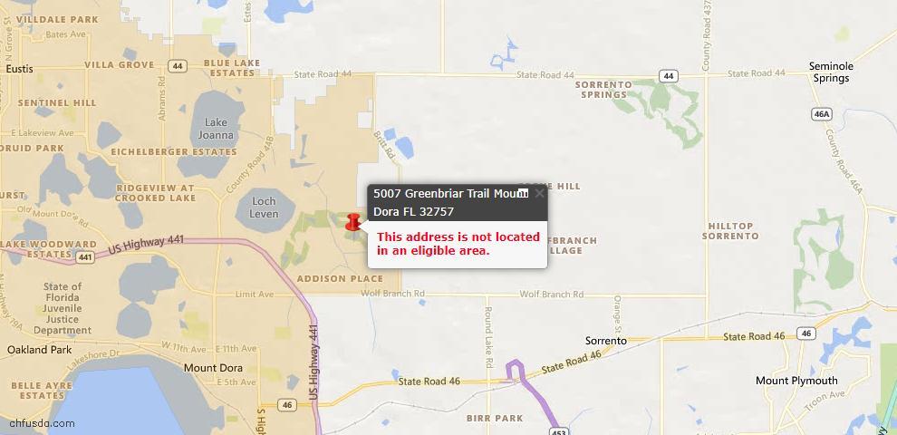 USDA Loan Eligiblity Maps From - Mount Dora, FL