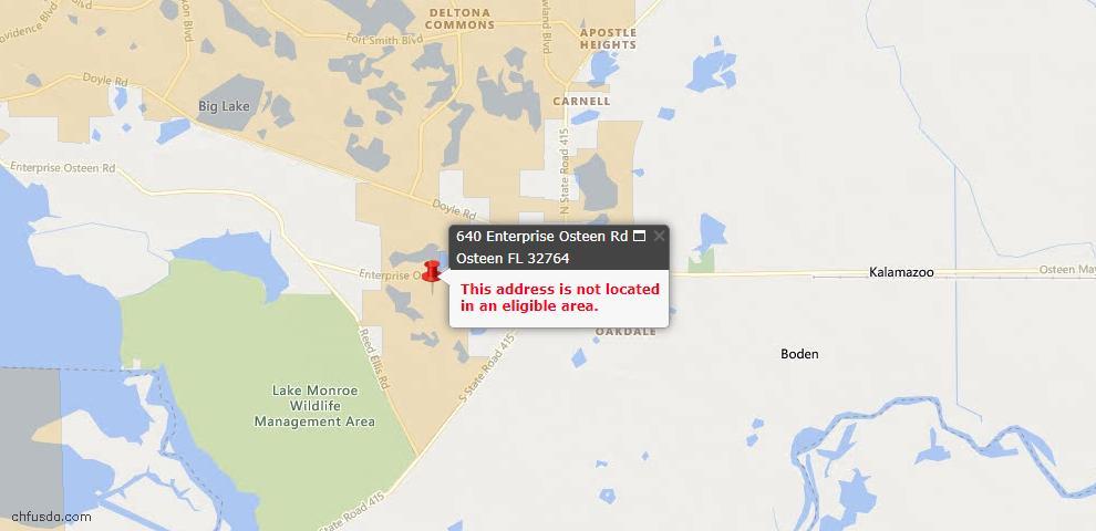 USDA Loan Eligiblity Maps From - Osteen, FL