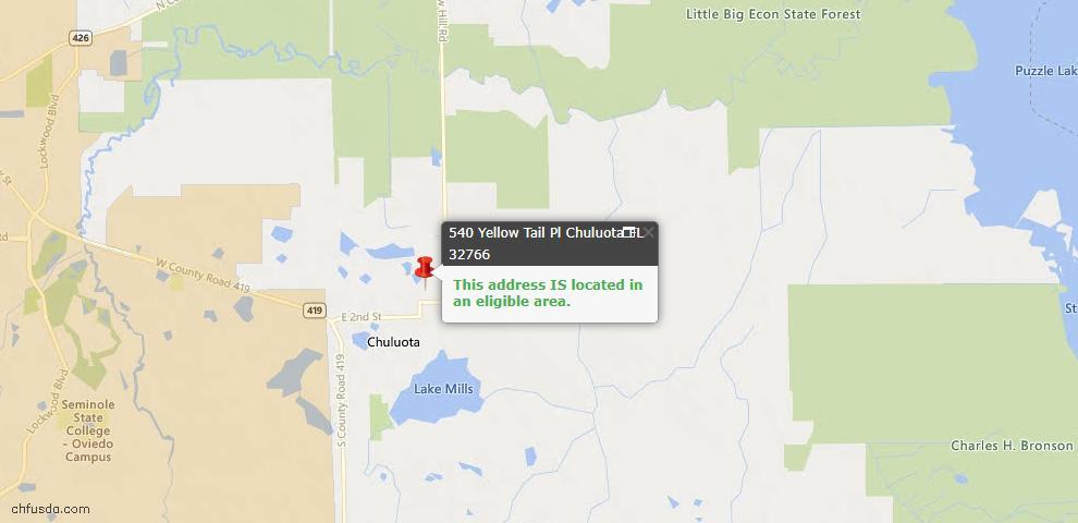 USDA Loan Eligiblity Maps From - Chuluota, FL