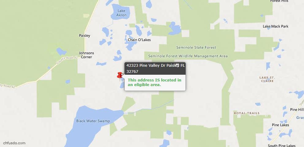 USDA Loan Eligiblity Maps From - Paisley, FL