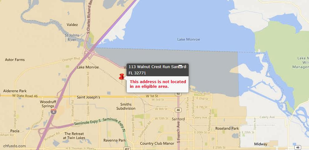 USDA Loan Eligiblity Maps From - Sanford, FL