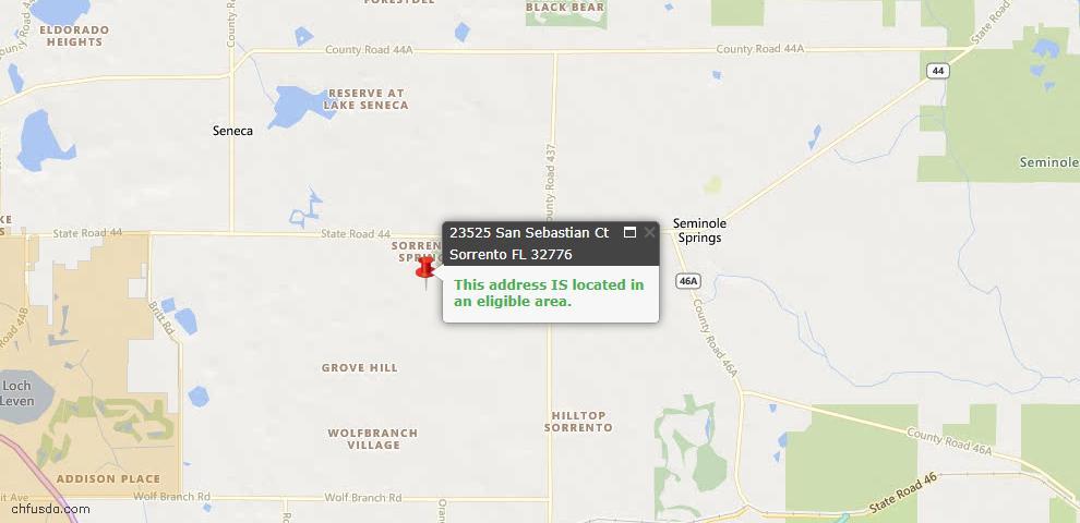 USDA Loan Eligiblity Maps From - Sorrento, FL