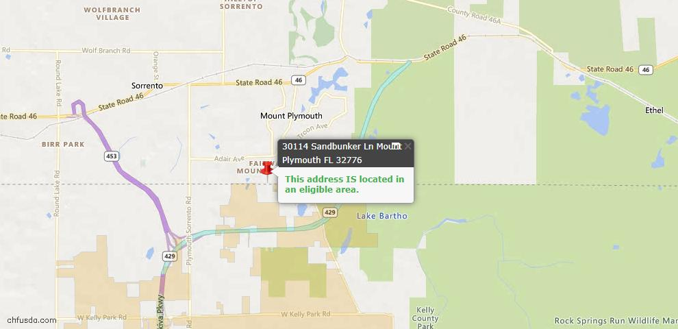 USDA Loan Eligiblity Maps From - Mount Plymouth, FL