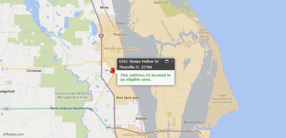 USDA Loan Eligiblity Map - 6261 Sleepy Hollow Dr, Titusville, FL 32780