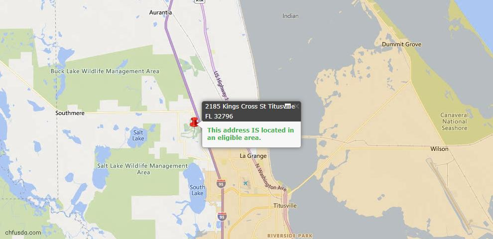 USDA Loan Eligiblity Map - 2185 Kings Cross St, Titusville, FL 32796