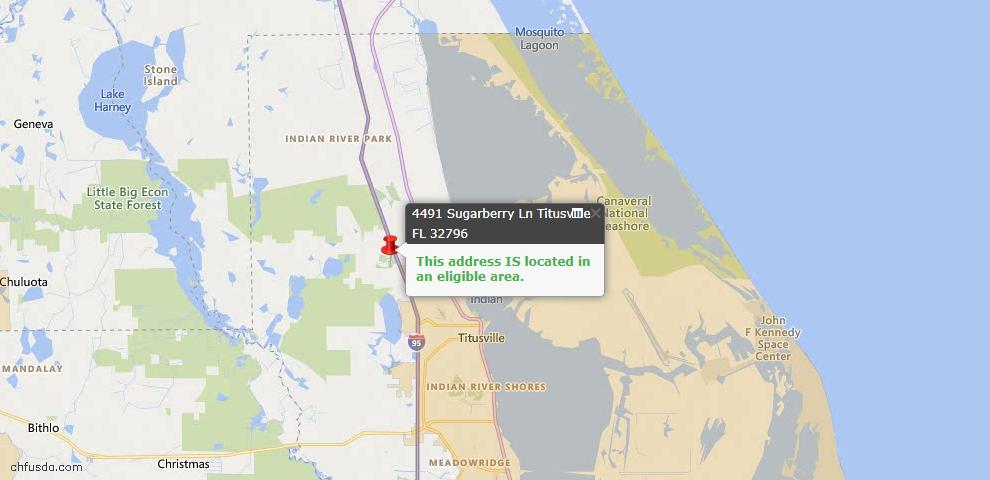 USDA Loan Eligiblity Map - 4491 Sugarberry Ln, Titusville, FL 32796