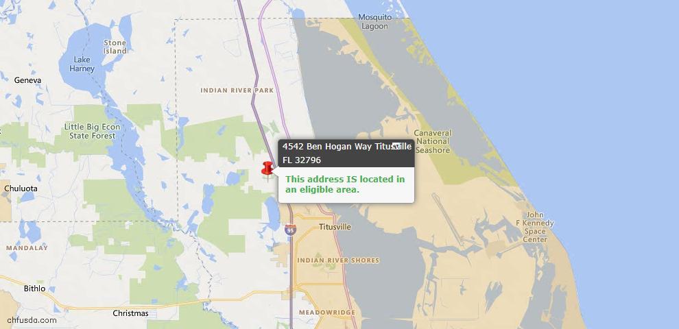 USDA Loan Eligiblity Map - 4542 Ben Hogan Way, Titusville, FL 32796