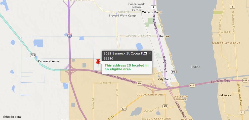 USDA Loan Eligiblity Map - 3632 Bannock St, Cocoa, FL 32926