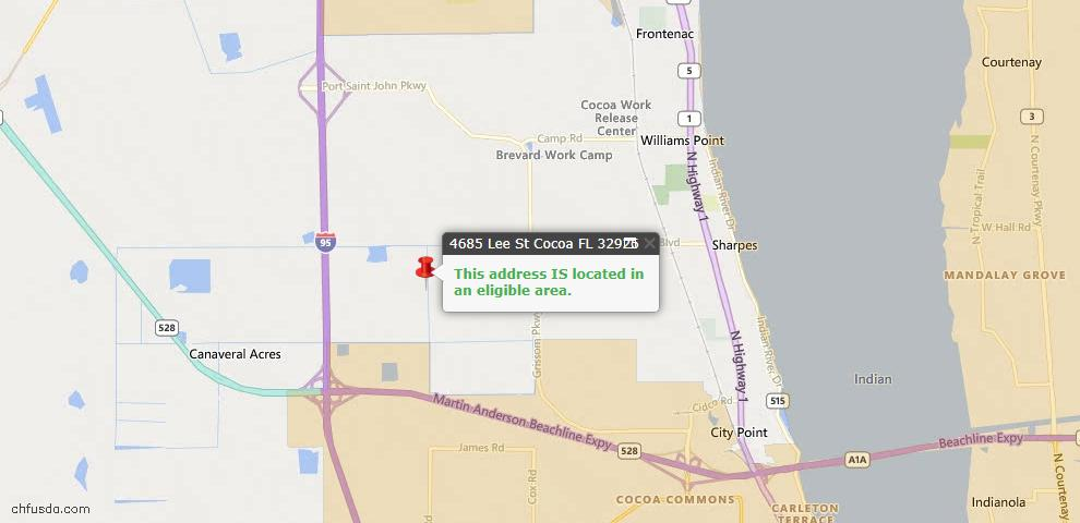 USDA Loan Eligiblity Map - 4685 Lee St, Cocoa, FL 32926