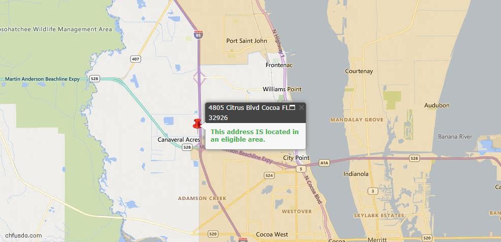 USDA Loan Eligiblity Map - 4805 Citrus Blvd, Cocoa, FL 32926