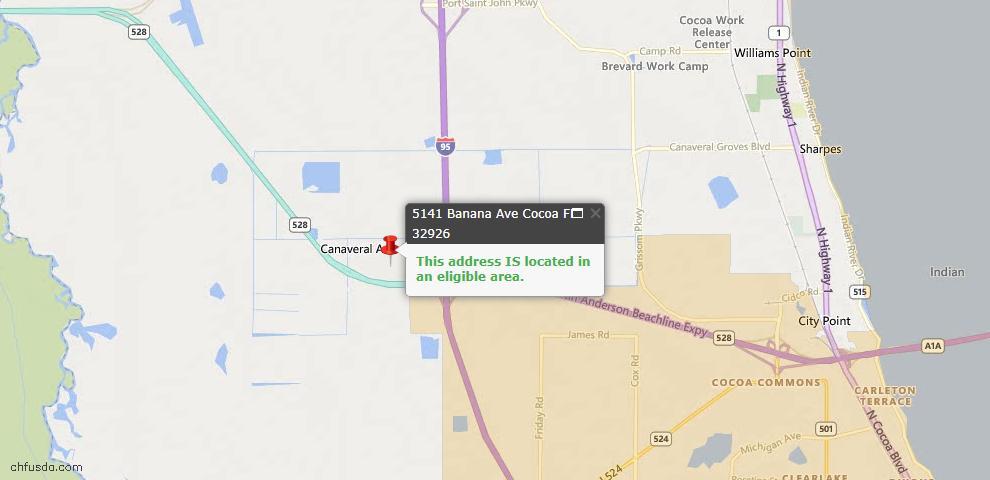 USDA Loan Eligiblity Map - 5141 Banana Ave, Cocoa, FL 32926