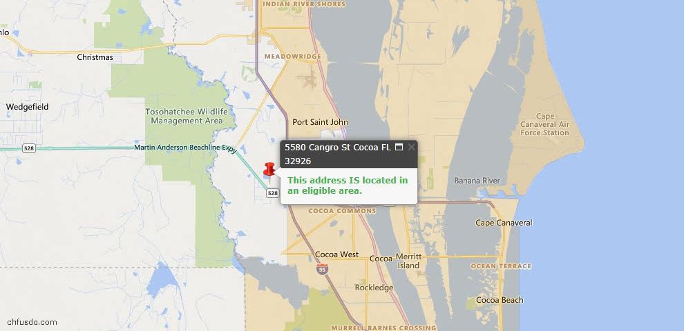 USDA Loan Eligiblity Map - 5580 Cangro St, Cocoa, FL 32926