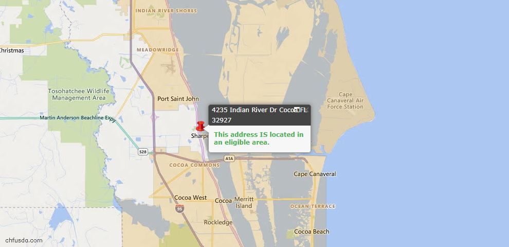 USDA Loan Eligiblity Map - 4235 Indian River Dr, Cocoa, FL 32927