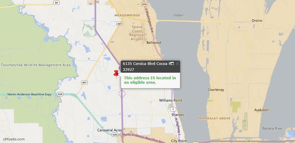 USDA Loan Eligiblity Map - 6135 Corsica Blvd, Cocoa, FL 32927