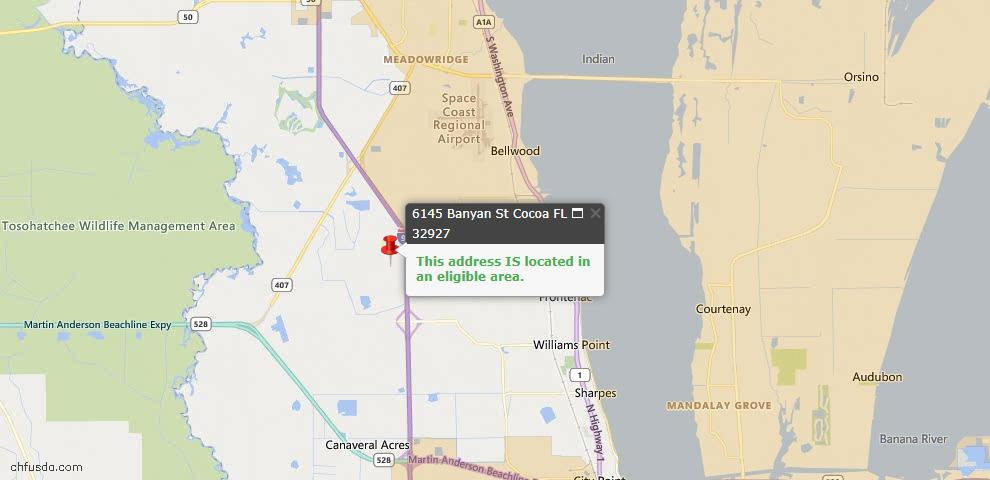 USDA Loan Eligiblity Map - 6145 Banyan St, Cocoa, FL 32927