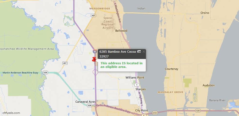 USDA Loan Eligiblity Map - 6285 Bamboo Ave, Cocoa, FL 32927