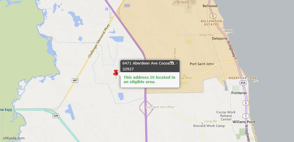 USDA Loan Eligiblity Map - 6471 Aberdeen Ave, Cocoa, FL 32927