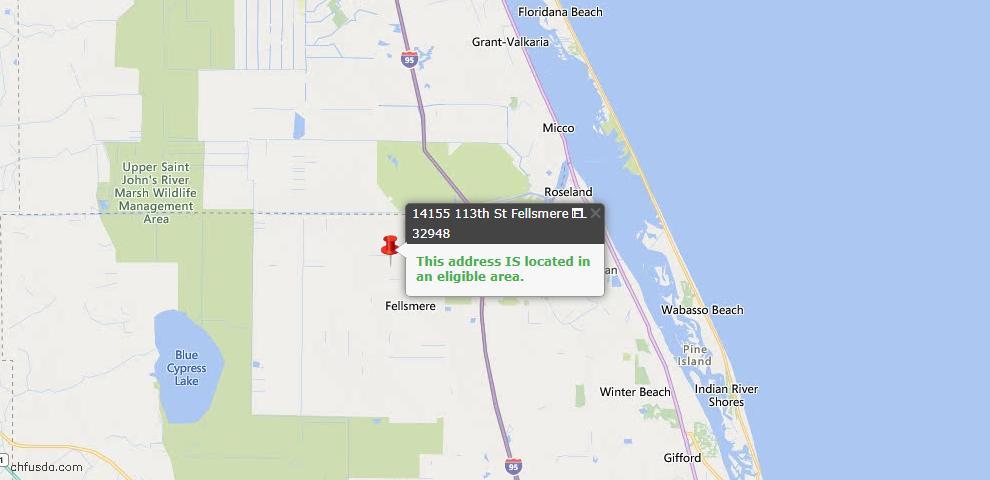 USDA Loan Eligiblity Map - 14155 113th St, Fellsmere, FL 32948