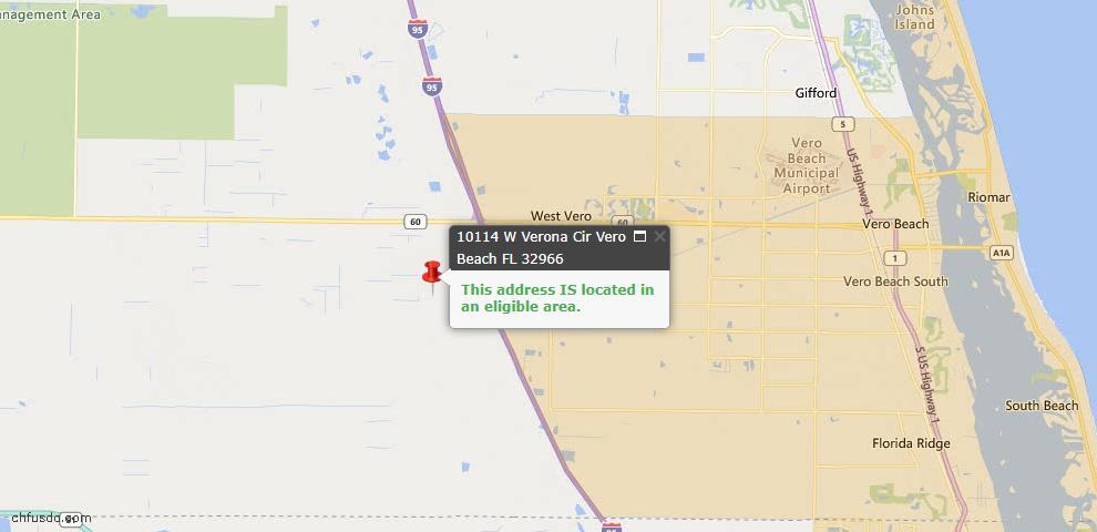USDA Loan Eligiblity Map - 10114 W Verona Cir, Vero Beach, FL 32966
