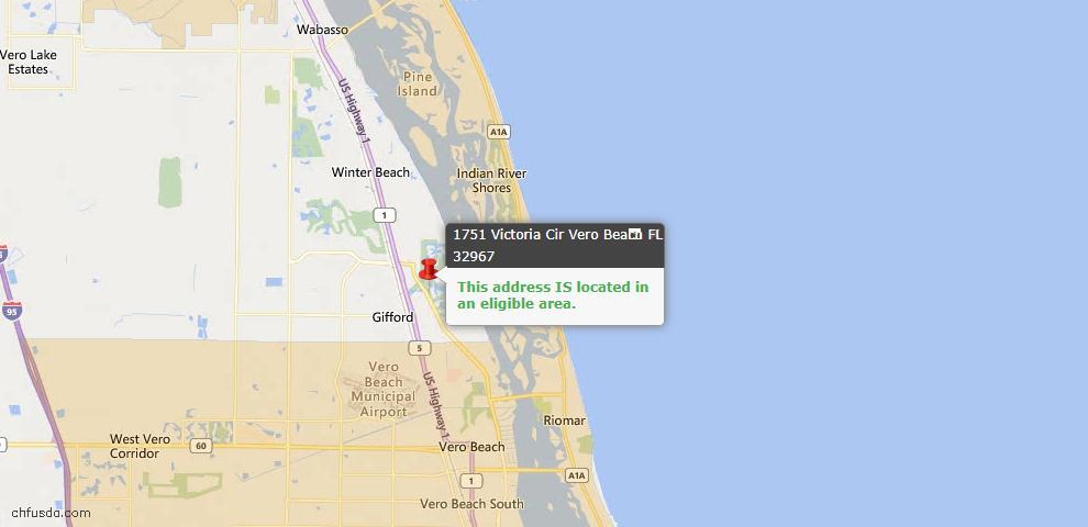 USDA Loan Eligiblity Map - 1751 Victoria Cir, Vero Beach, FL 32967