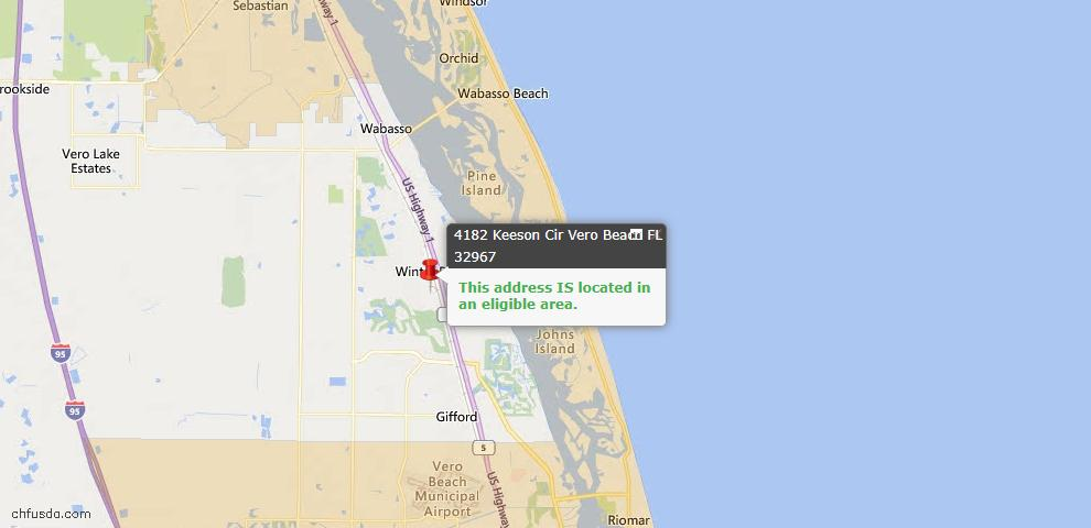 USDA Loan Eligiblity Map - 4182 Keeson Cir, Vero Beach, FL 32967