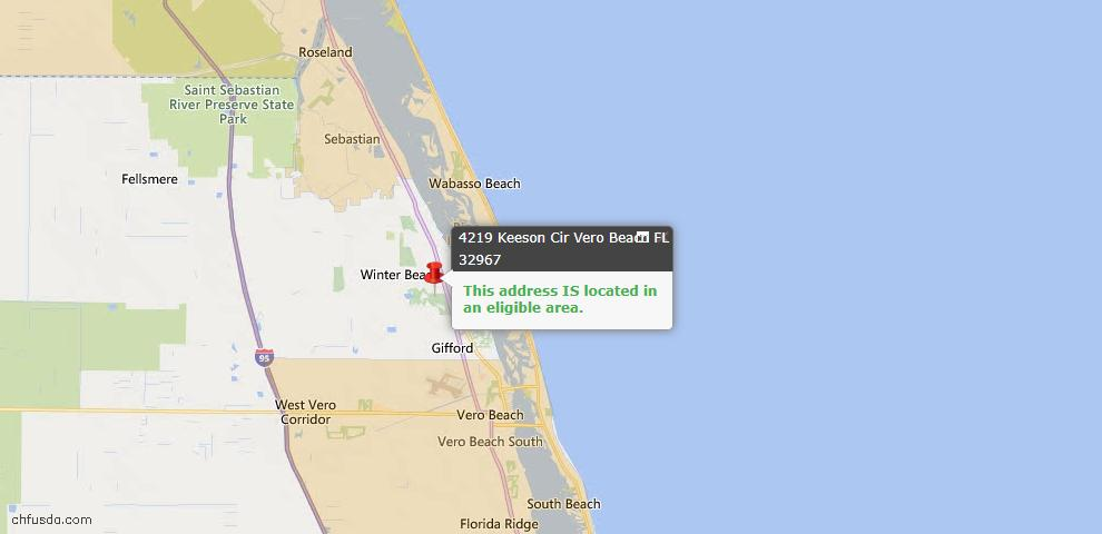 USDA Loan Eligiblity Map - 4219 Keeson Cir, Vero Beach, FL 32967