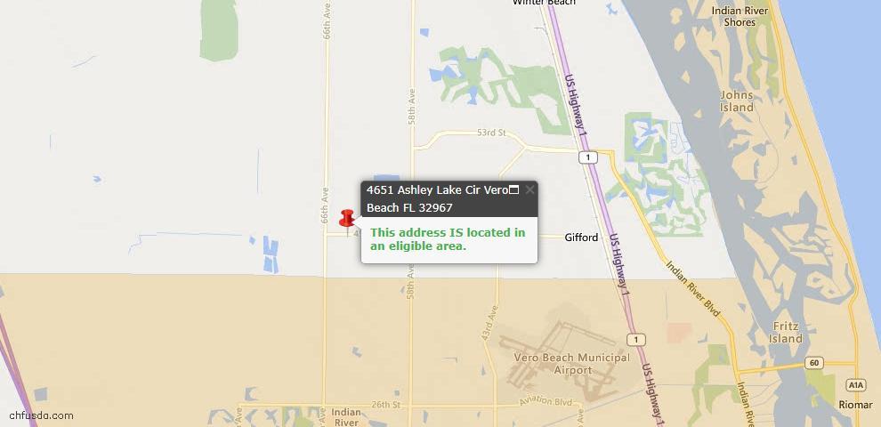 USDA Loan Eligiblity Map - 4651 Ashley Lake Cir, Vero Beach, FL 32967