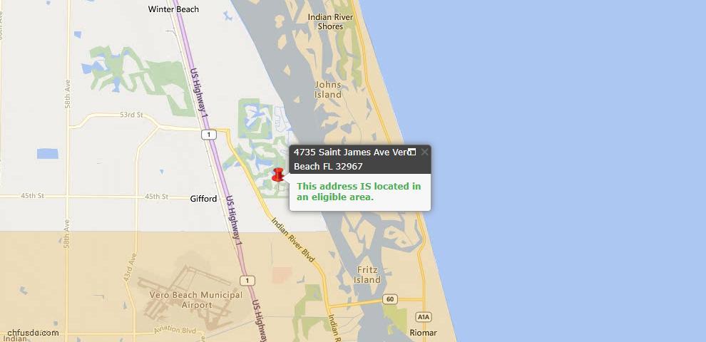 USDA Loan Eligiblity Map - 4735 Saint James Ave, Vero Beach, FL 32967