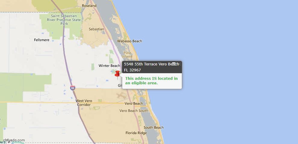 USDA Loan Eligiblity Map - 5548 55th Ter, Vero Beach, FL 32967